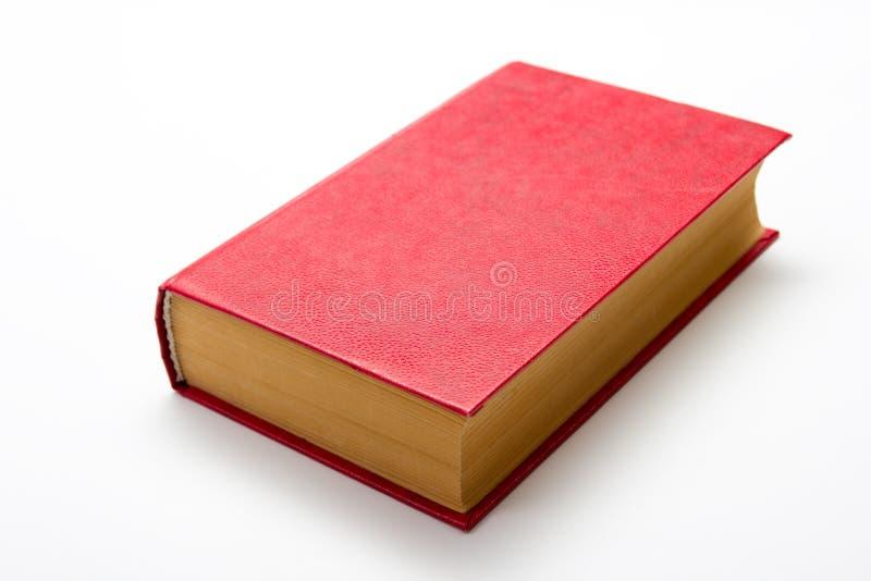 在白色背景的空白的红色精装书与拷贝空间 免版税库存图片