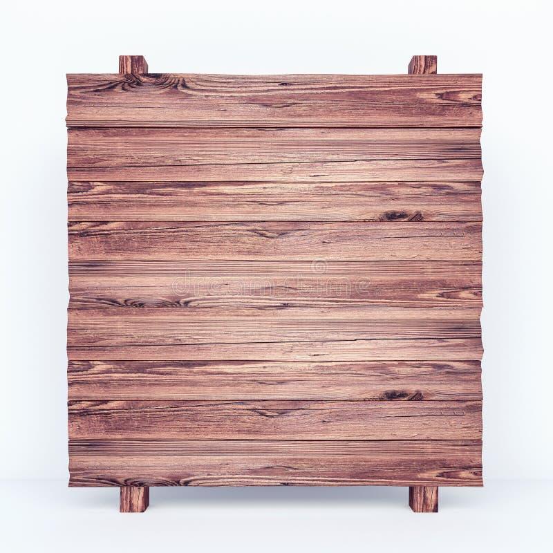 在白色背景的空的土气木板 向量例证