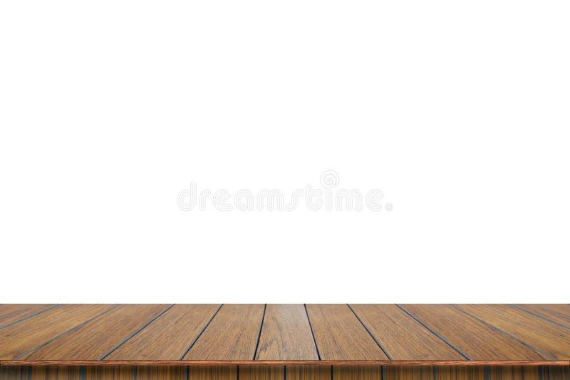 在白色背景的空的木台式孤立 免版税图库摄影