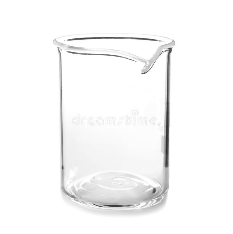 在白色背景的空的烧杯 免版税库存照片
