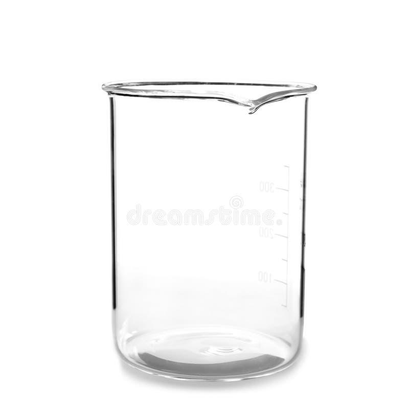 在白色背景的空的烧杯 免版税库存图片