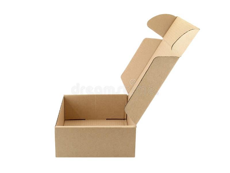 在白色背景的空纸盒箱子开放隔绝的特写镜头边 免版税库存照片