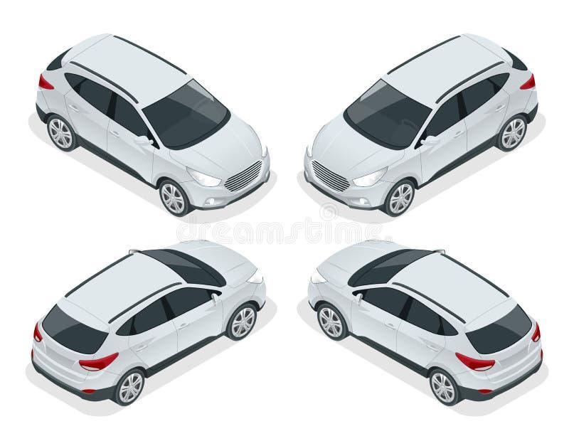在白色背景的等量汽车传染媒介模板 紧凑天桥, CUV, 5门小型客车汽车 模板传染媒介 向量例证