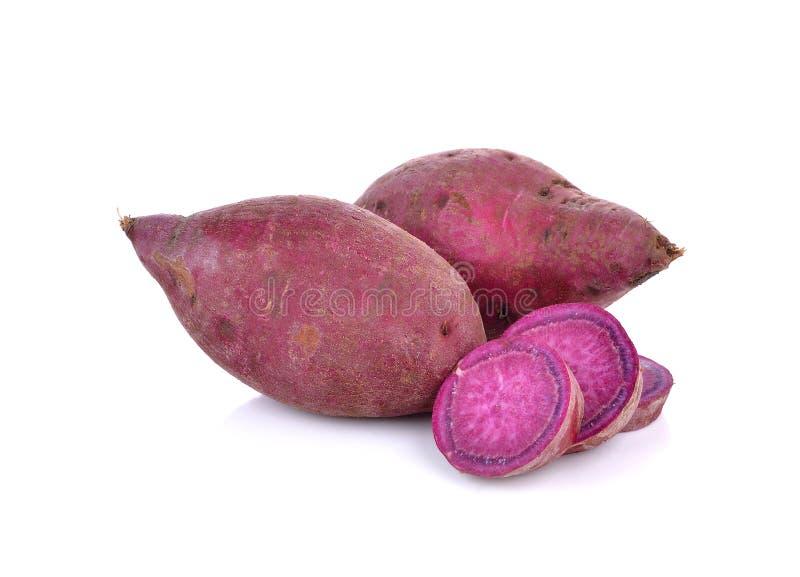 在白色背景的紫色甜薯类 库存照片