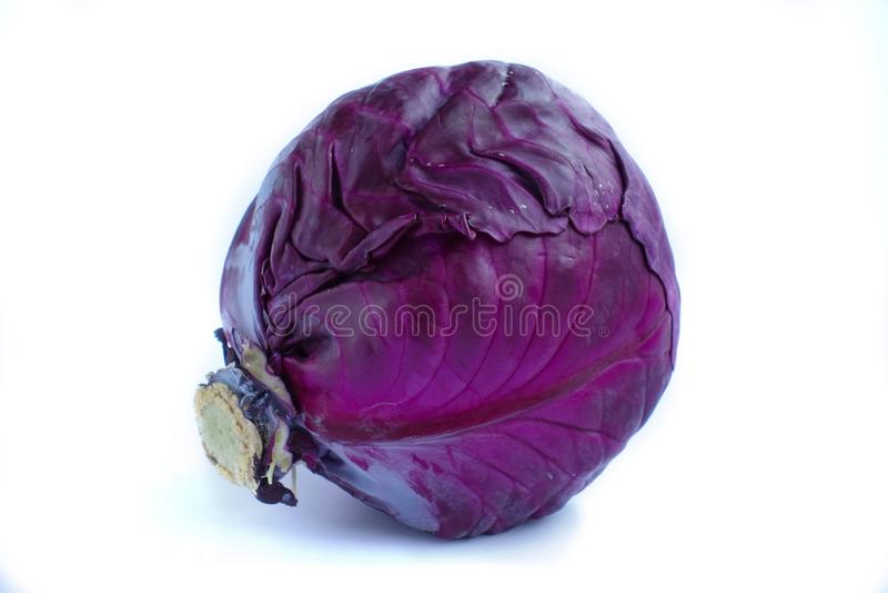 在白色背景的紫色菜 库存照片