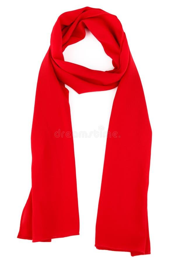 在白色背景的红色丝绸围巾 库存图片