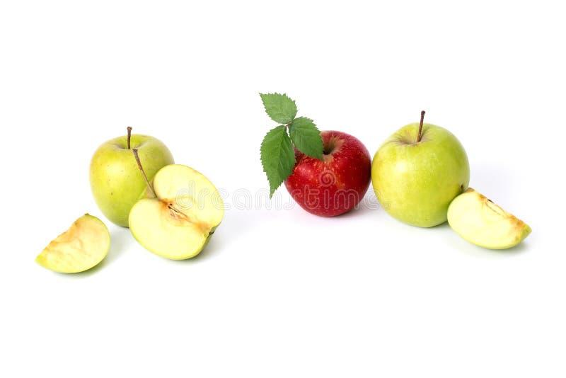 在白色背景的红色和绿色苹果 在被隔绝的背景的绿色和红色水多的苹果 一个小组在丝毫的成熟苹果 库存图片