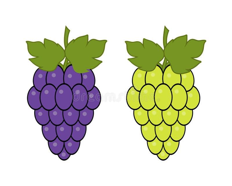 在白色背景的红色和绿色葡萄,被设置的葡萄类型 商标设计,传染媒介例证 酒传染媒介商标艺术 向量例证