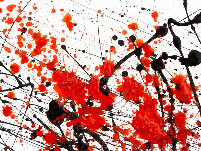 在白色背景的红色和黑油漆滴水 免版税库存照片