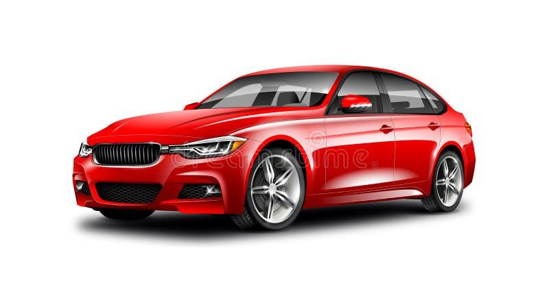 在白色背景的红色普通轿车汽车与被隔绝的道路 皇族释放例证