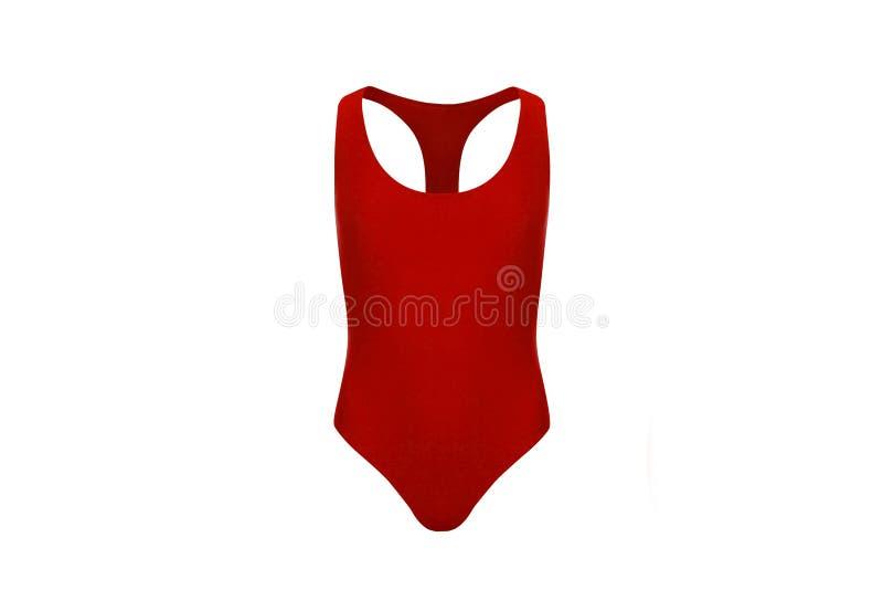 在白色背景的红色泳装 库存照片