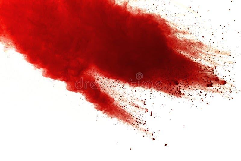 在白色背景的红色粉末爆炸 绘Holi 免版税库存图片