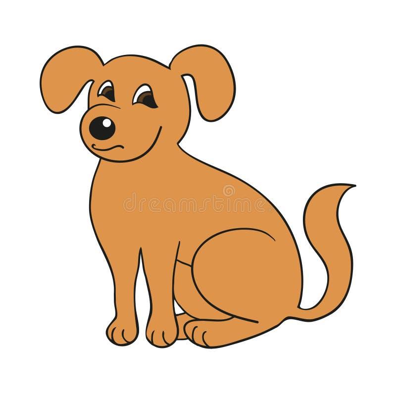 在白色背景的红色逗人喜爱的微笑的狗 也corel凹道例证向量 库存例证