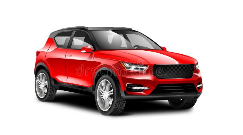 在白色背景的红色金属普通SUV汽车与被隔绝的道路 皇族释放例证