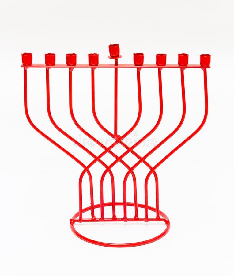在白色背景的红色Menorah 光明节 免版税库存照片