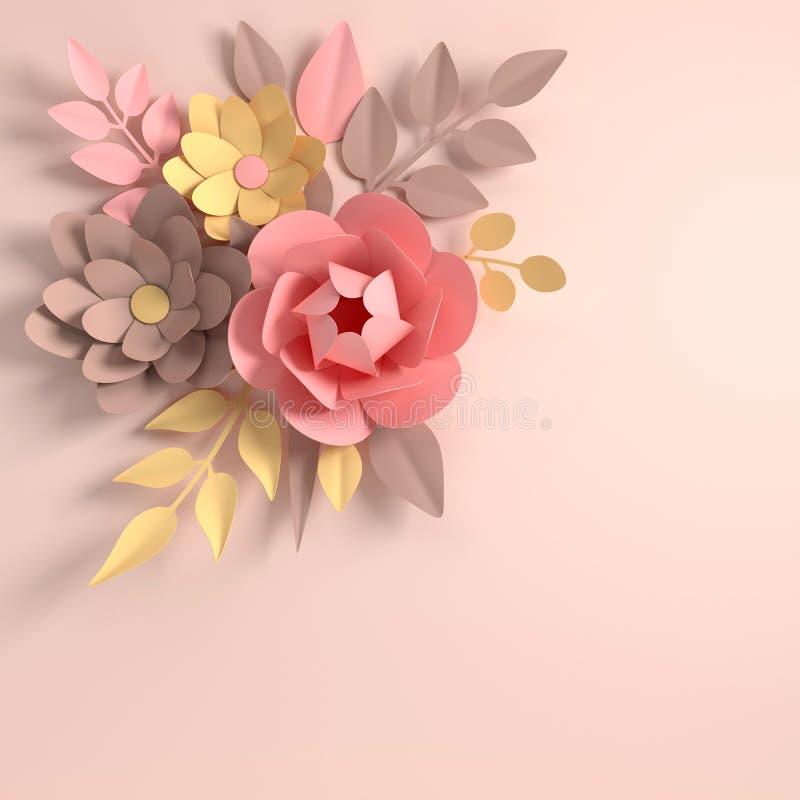 在白色背景的纸典雅的淡色色的花 r 3D rende 库存例证