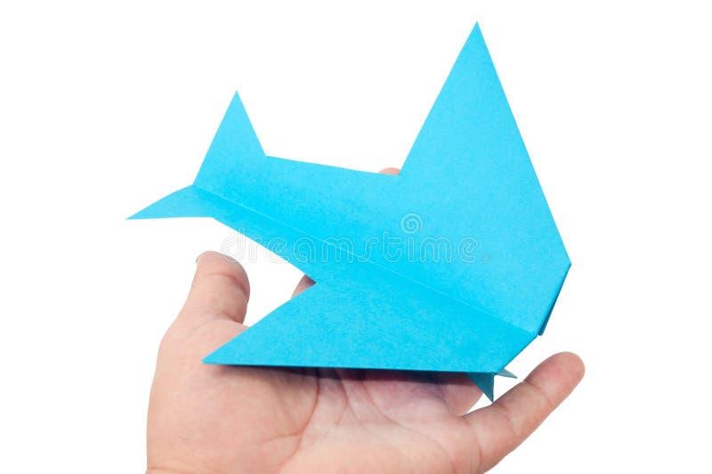在白色背景的纸ORIGAMI飞机 免版税库存照片