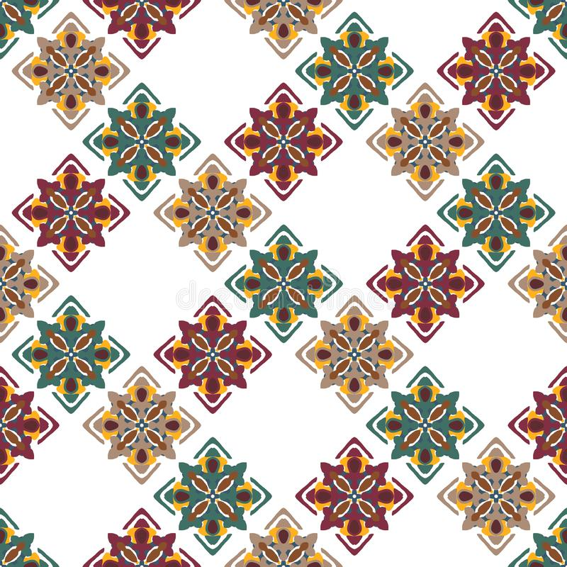 在白色背景的经典无缝的五颜六色的种族样式 皇族释放例证