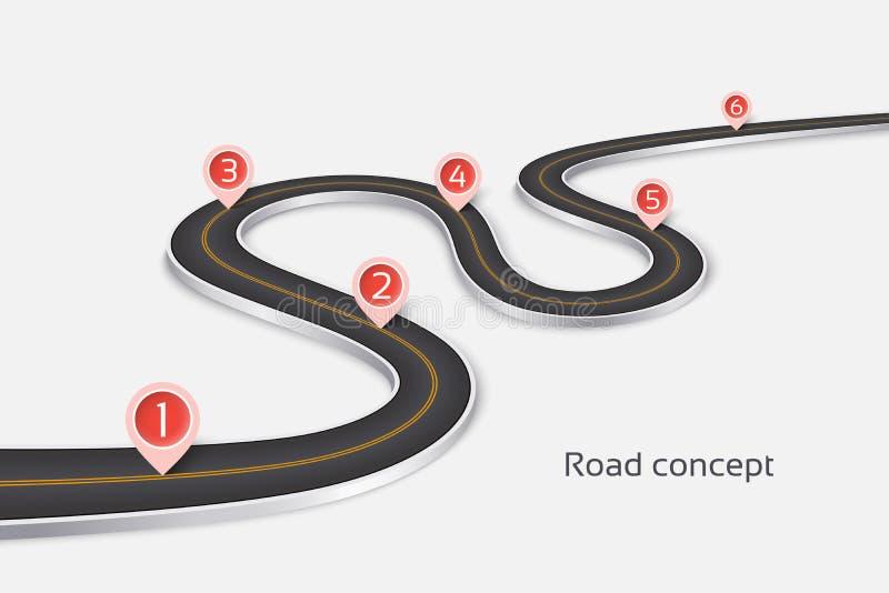 在白色背景的绕3d路infographic概念 E 向量例证