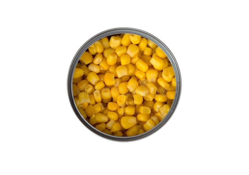 在白色背景的罐装玉米 免版税库存照片