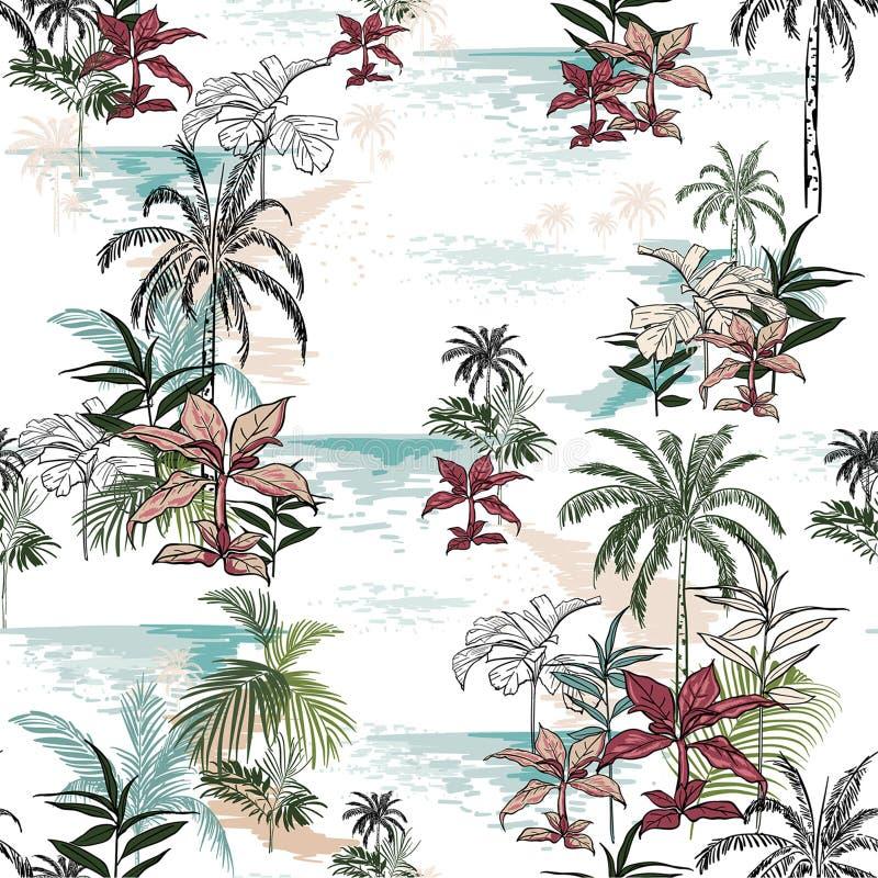 在白色背景的美好的无缝的海岛样式 风景 向量例证