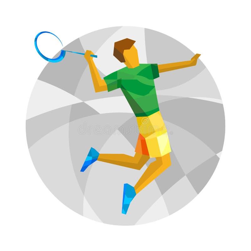 在白色背景的羽毛球球员跳跃的和摇摆的球拍 库存例证