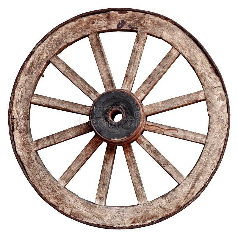 在白色背景的老木马车车轮 库存图片