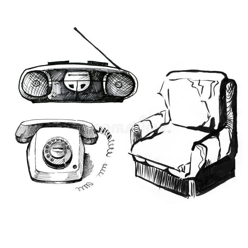 在白色背景的老材料 电话,录音机,椅子 葡萄酒样式,手图片