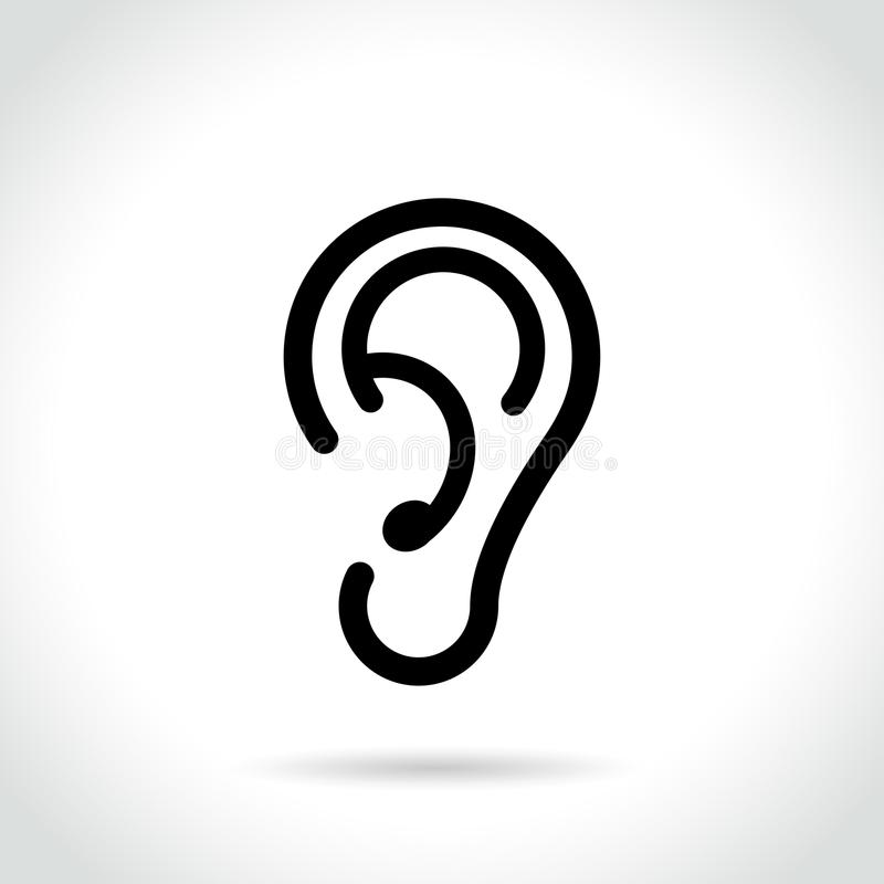 在白色背景的耳朵象 库存例证