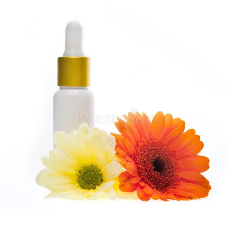 在白色背景的自然身体关心化妆用品 图库摄影