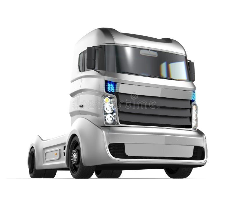 在白色背景的自治杂种卡车 图库摄影