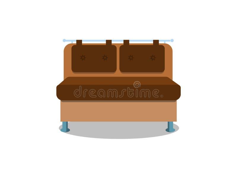 在白色背景的舒适的厨房沙发 内部的被隔绝的长沙发休息室 平的动画片样式传染媒介例证 皇族释放例证