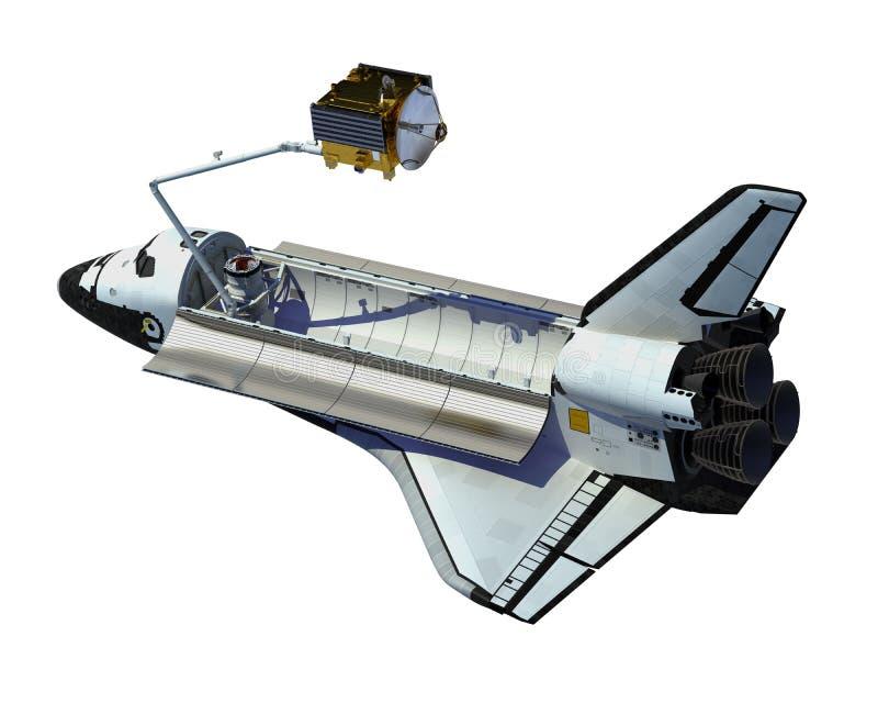 在白色背景的航天飞机部署的卫星 皇族释放例证