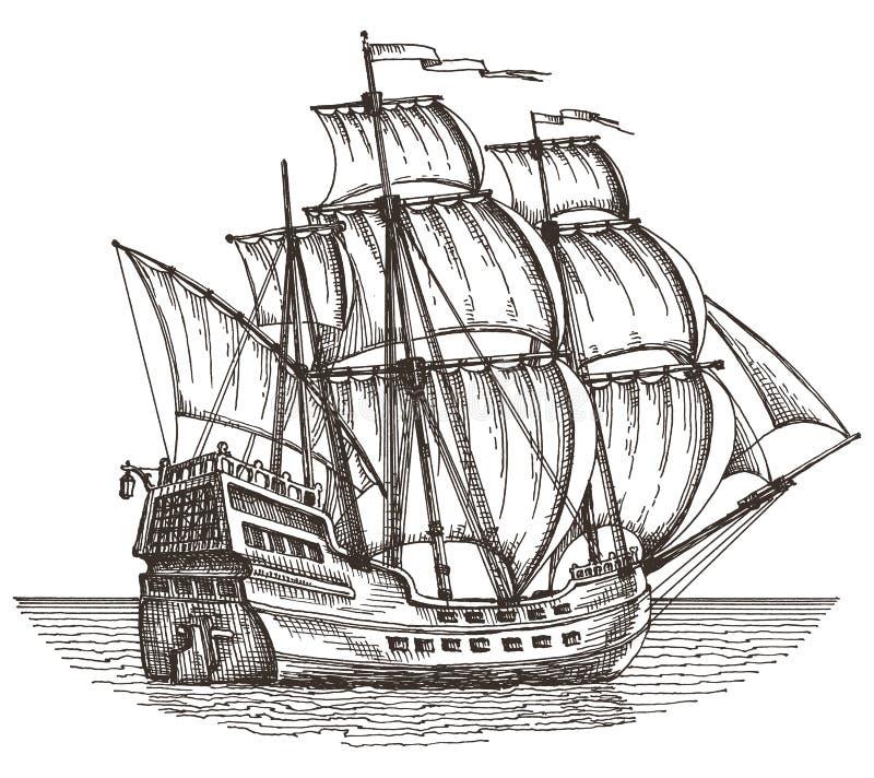 在白色背景的船 草图 例证 向量例证