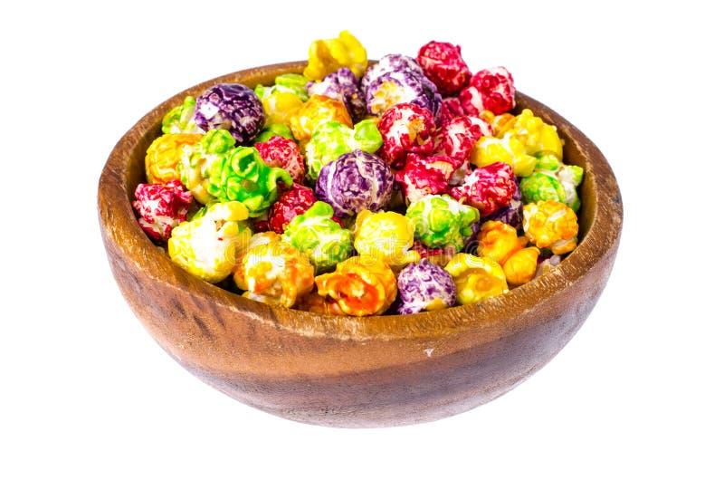 在白色背景的色的玉米花 库存图片