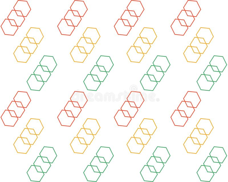 在白色背景的色的相称几何形状 向量例证