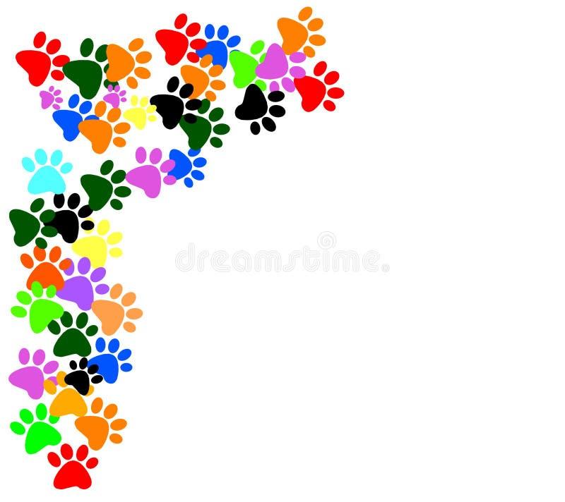 在白色背景的色的pawprints 向量例证