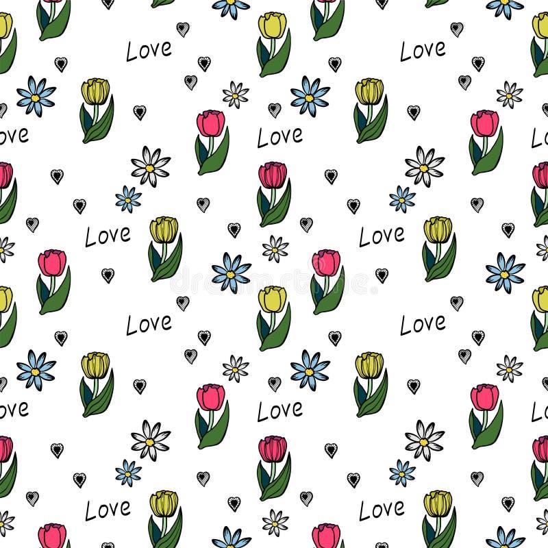 在白色背景的花卉无缝的样式 库存例证