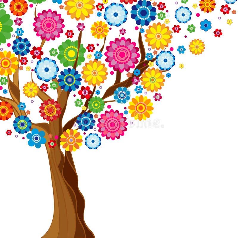 在白色背景的花春天开花的树,花卉 库存例证