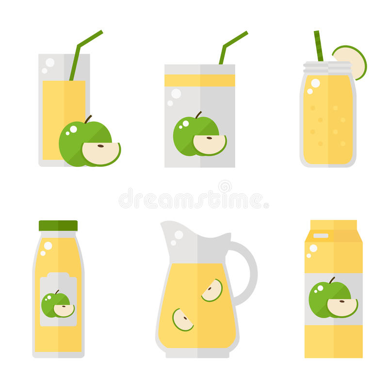 在白色背景的苹果汁被隔绝的象 向量例证