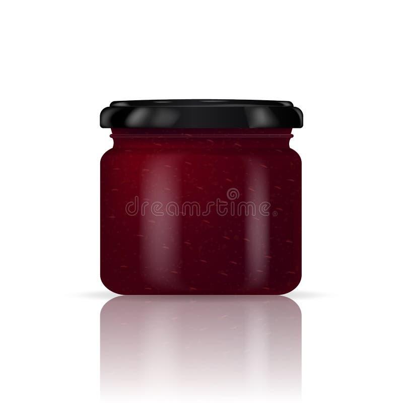 在白色背景的草莓酱瓶子 也corel凹道例证向量 皇族释放例证