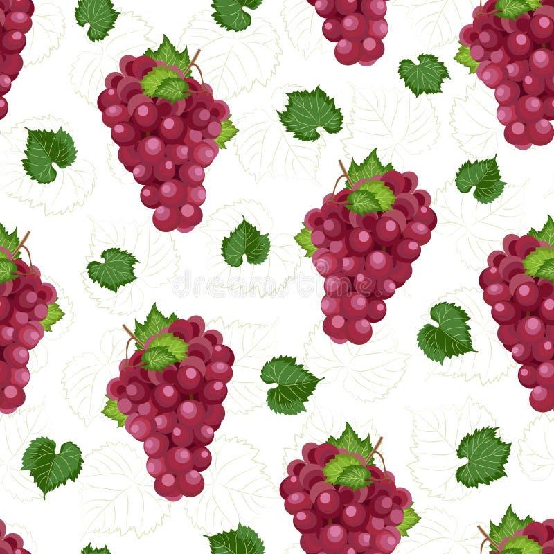 在白色背景的葡萄束无缝的样式与叶子和剪影,新鲜的有机食品,红葡萄样式背景 库存例证