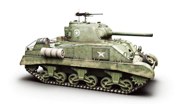 在白色背景的葡萄酒美国世界大战2装甲的中等作战坦克 Wwii 库存例证