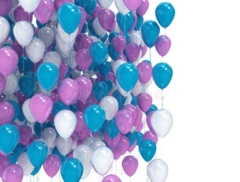 在白色背景的蓝色和紫色气球 向量例证