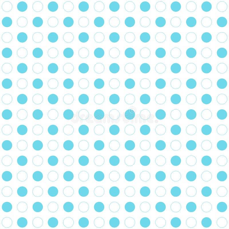 在白色背景的蓝色圆点无缝的样式 减速火箭的circ 皇族释放例证