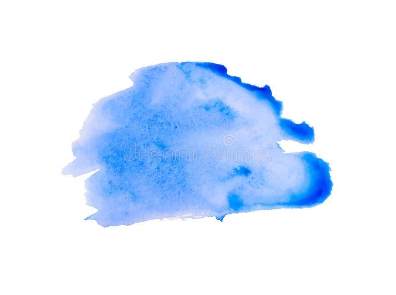在白色背景的蓝色手画水彩纹理,传染媒介墨水,丙烯酸酯的装饰 时髦水彩污点 向量例证