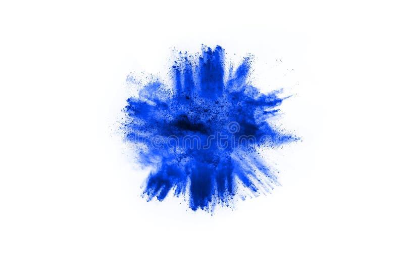 在白色背景的蓝色粉末爆炸 色的云彩 库存图片