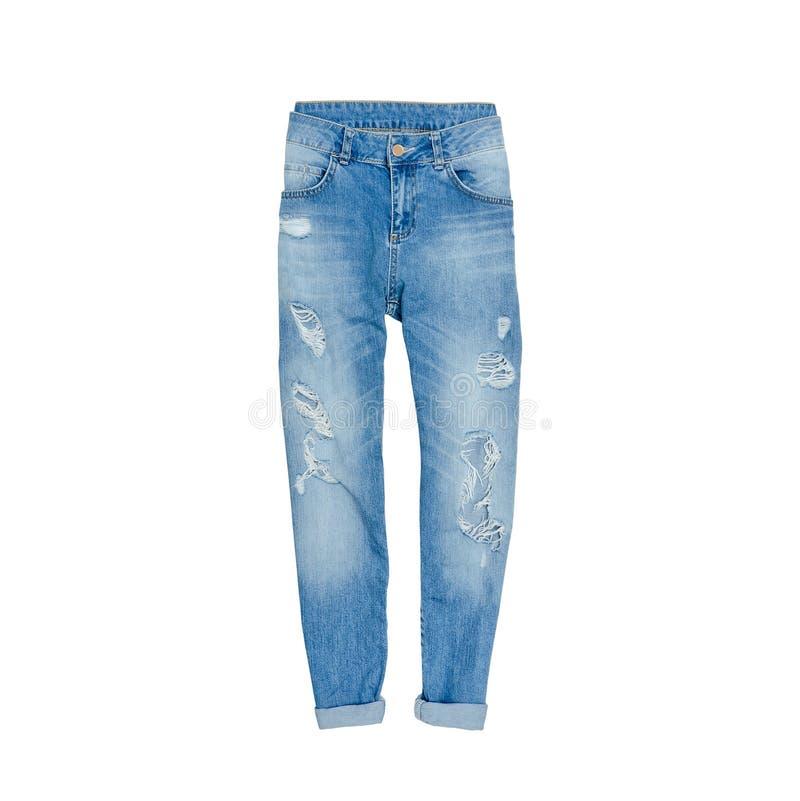 在白色背景的蓝色褴褛牛仔裤 孤立 时兴的co 图库摄影