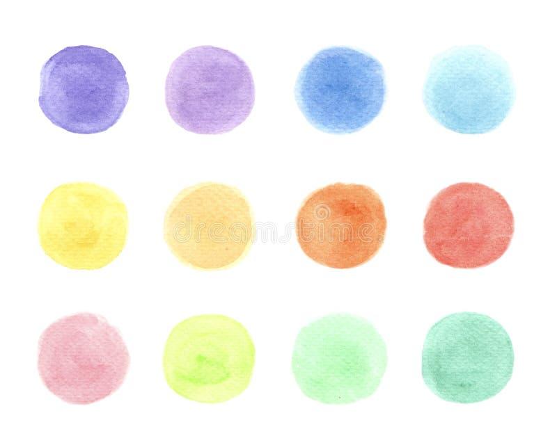在白色背景的蓝色,黄色,红色,绿色,紫色,橙色水彩 向量例证