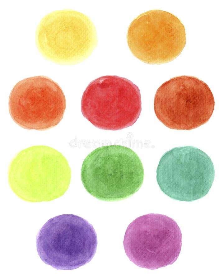 在白色背景的蓝色,黄色,红色,绿色,紫色,橙色水彩 图库摄影